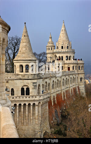 The 'Fisherman's Bastion', Castle Hill (Varhegy), Buda, Budapest, Hungary - Stock Photo