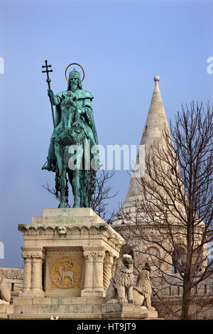 Statue of St. Stephen (Szent István), at 'Fisherman's bastion', Castle Hill, Buda, Budapest, Hungary - Stock Photo