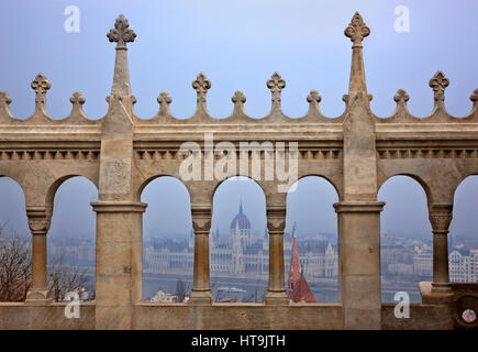 View of the Hungarian Parliament from 'Fisherman's Bastion', Budapest, Hungary. - Stock Photo