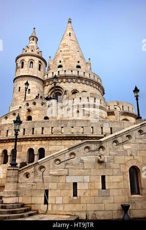 The 'Fisherman's Bastion', Castle Hill (Varhegy), Buda, Budapest, Hungary - Stock Photo