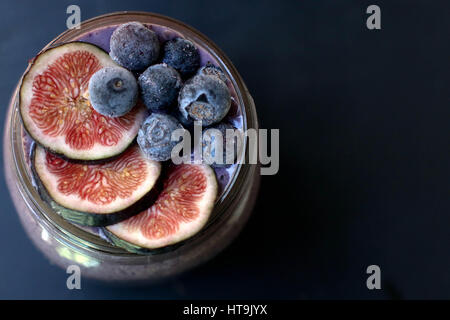 Healthy Blueberry and FIg Smoothie - Stock Photo