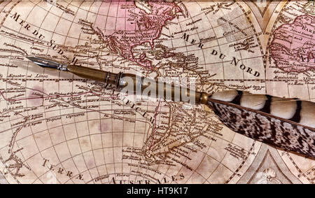 Pen on old world map stock photo royalty free image 3089598 alamy quill pen laying on old world map with quill pen stock photo sciox Gallery