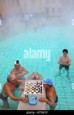 People playng chess at the The Széchenyi Medicinal Bath in City Park (Varosliget) Budapest, Hungary. It is the largest - Stock Photo