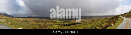Lanscape in Irish Connemara with Very Big Rainy Clouds - Stock Photo