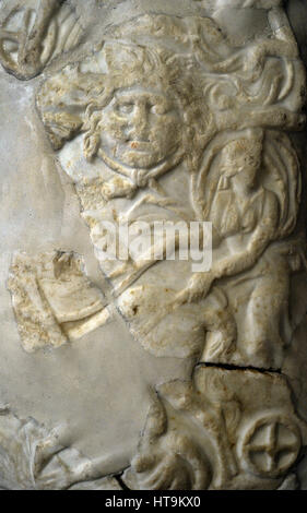 Fragment statue. Shield with the representation of the Sun (Helios) and the Moon (Selene). Detail of Selene. 1st - Stock Photo