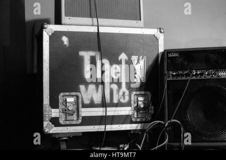 The Who flight case of equipment, backstage. London 2011. - Stock Photo