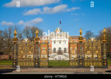 Warrington Town Hall Golden Gates - Stock Photo