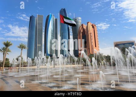 Etihad Towers buildings in Abu Dhabi, United Arab Emirates - Stock Photo