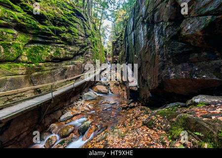 Wooden walkway and steps along the Flume Gorge in Franconia Notch State Park, New Hampshire, USA. - Stock Photo