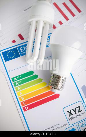 LED light bulb on energy efficiency chart. Economic concept - Stock Photo