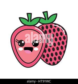 color kawaii scared strawberry icon - Stock Photo