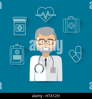 hospital doctor with his tools icon - Stock Photo