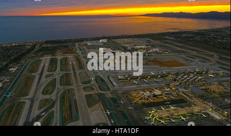 aerial view of LAX, Los Angeles International airport - Stock Photo