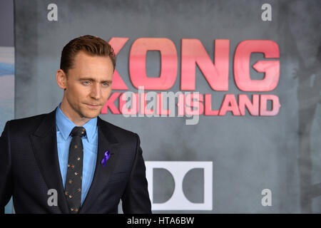 Los Angeles, USA. 08th Mar, 2017. LOS ANGELES, CA. March 8, 2017: Actor Tom Hiddleston at the premiere for 'Kong: - Stock Photo