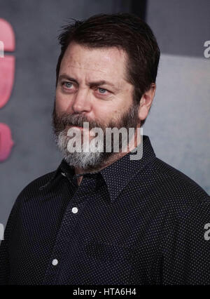 Los Angeles, USA. 08th Mar, 2017. Nick Offerman at the Kong Skull Island Premiere at the Microsoft Theatre in Los - Stock Photo