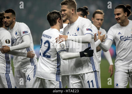 Denmark, Copenhagen, March 9th 2017. Andreas Cornelius (11) of FC Copenhagen seen wiht Peter Ankersen (22) during - Stock Photo