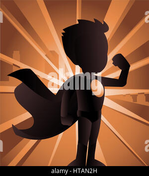Cartoon Superhero Boy Standing With Cape Waving In The Wind Happy Stock Photo Alamy