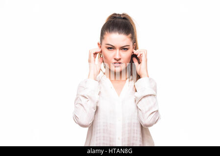 woman loud sound ears on white background - Stock Photo