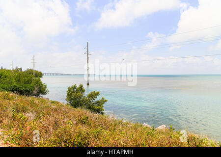 View from the Overseas Highway on the coastline of the Florida Keys. - Stock Photo