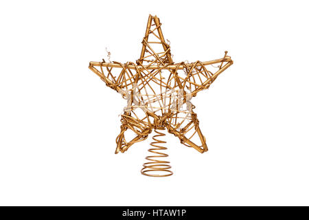 Christmas decorative Star of David isolated on a white background. - Stock Photo