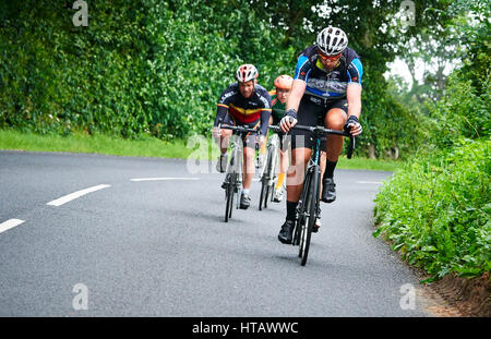 NORTHUMBERLAND, ENGLAND, UK - AUGUST 07, 2016: A group of riders out on a training ride for a long distance endurance - Stock Photo