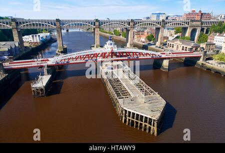 NEWCASTLE UPON TYNE, ENGLAND, UK - AUGUST 13, 2015: The Swing & High Level bridges over the river Tyne at Newcastle. - Stock Photo