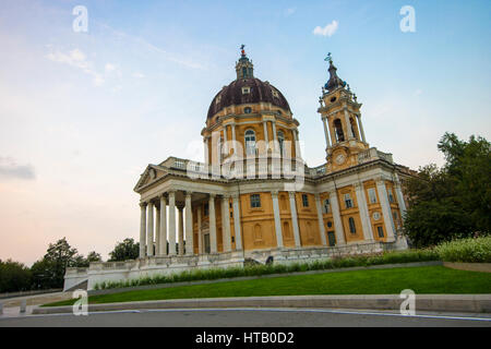 Basilica di Superga, a baroque church in the vicinity of Turin (Torino), Italy, and burial place of the Savoy family. - Stock Photo