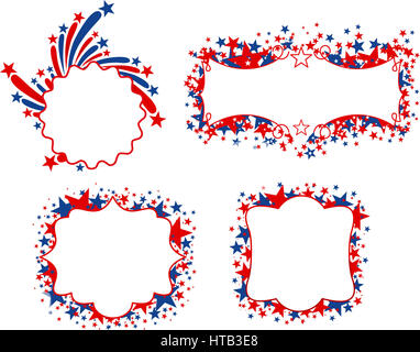 US patriotic banners with blank space to fill in. Four different United States of America banners with stars in - Stock Photo