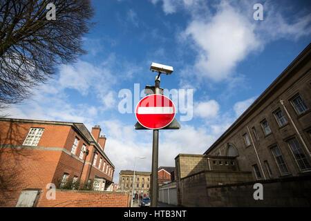Road sign - no entry . Bolton Town Centre, Bolton , England , UK - Stock Photo