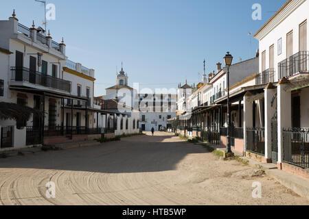 Sand streets and brotherhood dwellings, El Rocio, Huelva Province, Andalucia, Spain, Europe