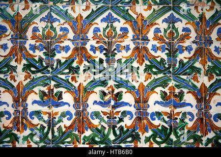 16th century Spanish Mudjar tiles from the Pavillion of Carlos V, Selivve Alcazar, Seville, Spain - Stock Photo