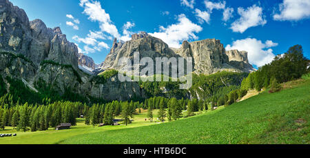 Mountains and pastures of the Sella plateau near Colfosco, looking at Mount Sassongher, Trentini, Italy - Stock Photo