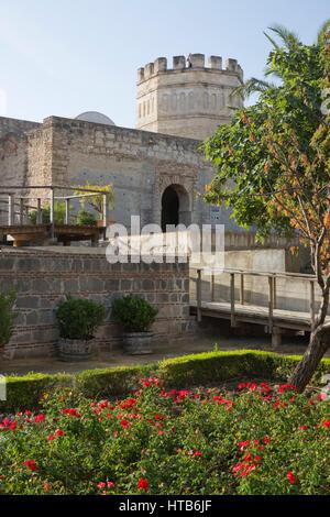 Walls and tower of the Alcazar of Jerez, Jerez de la Frontera, Cadiz province, Andalucia, Spain, Europe - Stock Photo