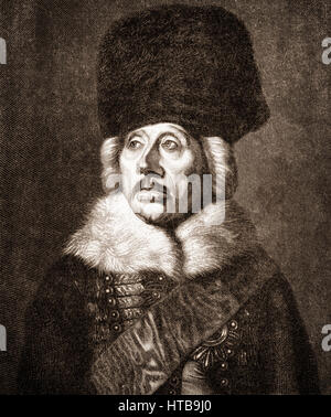 Hans Joachim von Zieten or Ziethen, 1699 - 1786, a Prussian cavalery general - Stock Photo