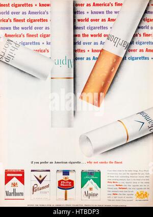 A 1960s magazine advertisement advertising Philip Morris cigarettes. - Stock Photo