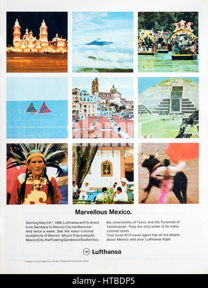 1960s magazine advertisement promoting direct Lufthansa flights from Germany to Mexico. - Stock Photo