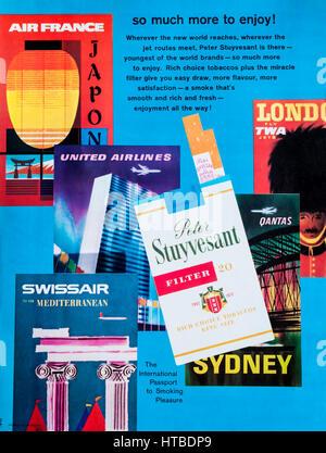 A 1960s magazine advertisement advertising Peter Stuyvesant cigarettes. - Stock Photo