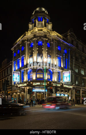 London's West End at night with The Curious Incident of the Dog in the Night-Time at the Gielgud Theatre in Shaftesbury - Stock Photo