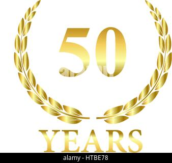 50 Years laurel leaf wreath vector in gold on white background - Stock Photo