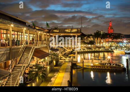 Bayfront Marketplace and marina (Freedom Tower in background), Miami, Florida USA - Stock Photo
