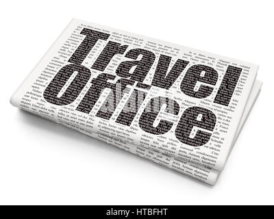 Travel concept: Travel Office on Newspaper background - Stock Photo