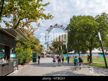 Vienna, Prater. Entrance to the Prater amusement park looking towards the Wiener Riesenrad (Ferris Wheel), Vienna, - Stock Photo