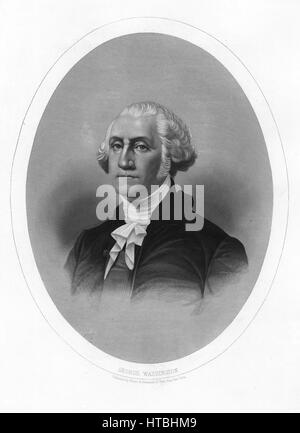 Engraved portrait of George Washington, Founding Father and the first President of the United States of America, - Stock Photo