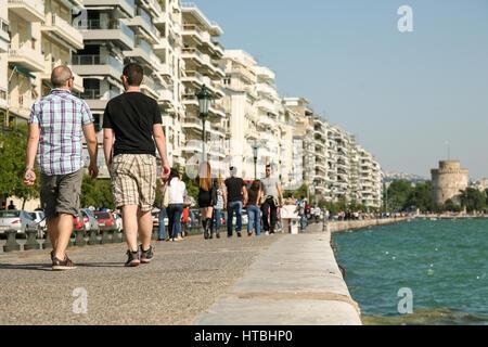 THESSALONIKI. GREECE. MAY 15, 2011 : People walking ot Nikis avenue - Victory avenue in Thessaloniki. Greece. White - Stock Photo
