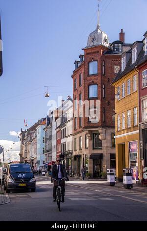 COPENHAGEN, DENMARK - SEPTEMBER 5: Cyclists waiting for green light in central Copenhagen Denmark Europe on September - Stock Photo