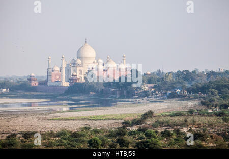 The Taj Mahal as seen from the Agra Fort, Agra, India. - Stock Photo