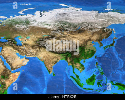 Detailed satellite view of the Earth and its landforms. Asia map. Elements of this image furnished by NASA - Stock Photo