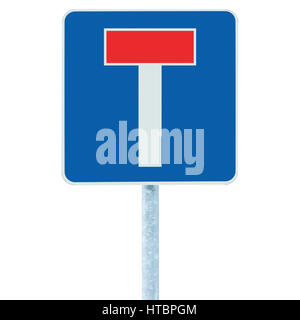 Dead end no through road traffic sign, isolated roadside T signage on pole post signpost signboard, blue, red - Stock Photo