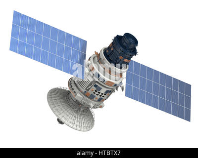 3d rendering satellite isolated on white - Stock Photo