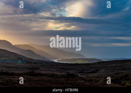 View from blanket bog above coastal village of Ardara, County Donegal, Ireland. Part of Ireland's Wild Atlantic - Stock Photo